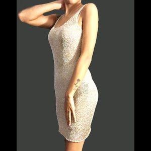 NWT Gold Metallic Dress & Nude Undergarment